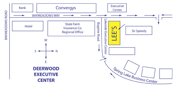 Map To Lees Sandwich Shoppe Baymeadows Jacksonville Florida